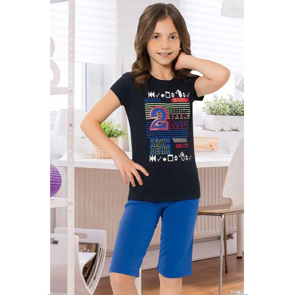 GIRL'S CAPRI PAJAMAS BLACK COLOR HMD-6093