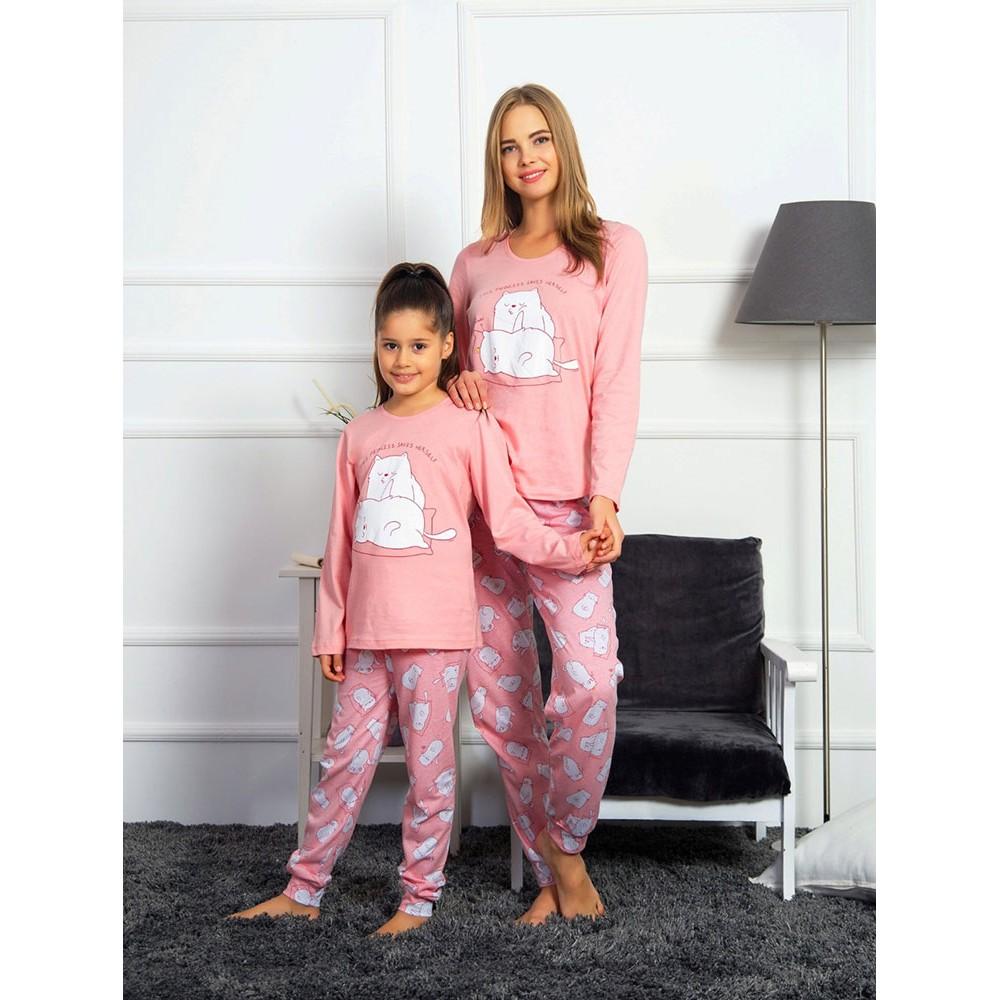 Family Matching Kids Mom Pajamas Long Sleeve Pink Color