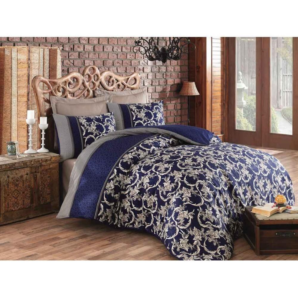 Satin Double Quilt Cover Set Pera Navy Blue Color CT-1771636-LVR