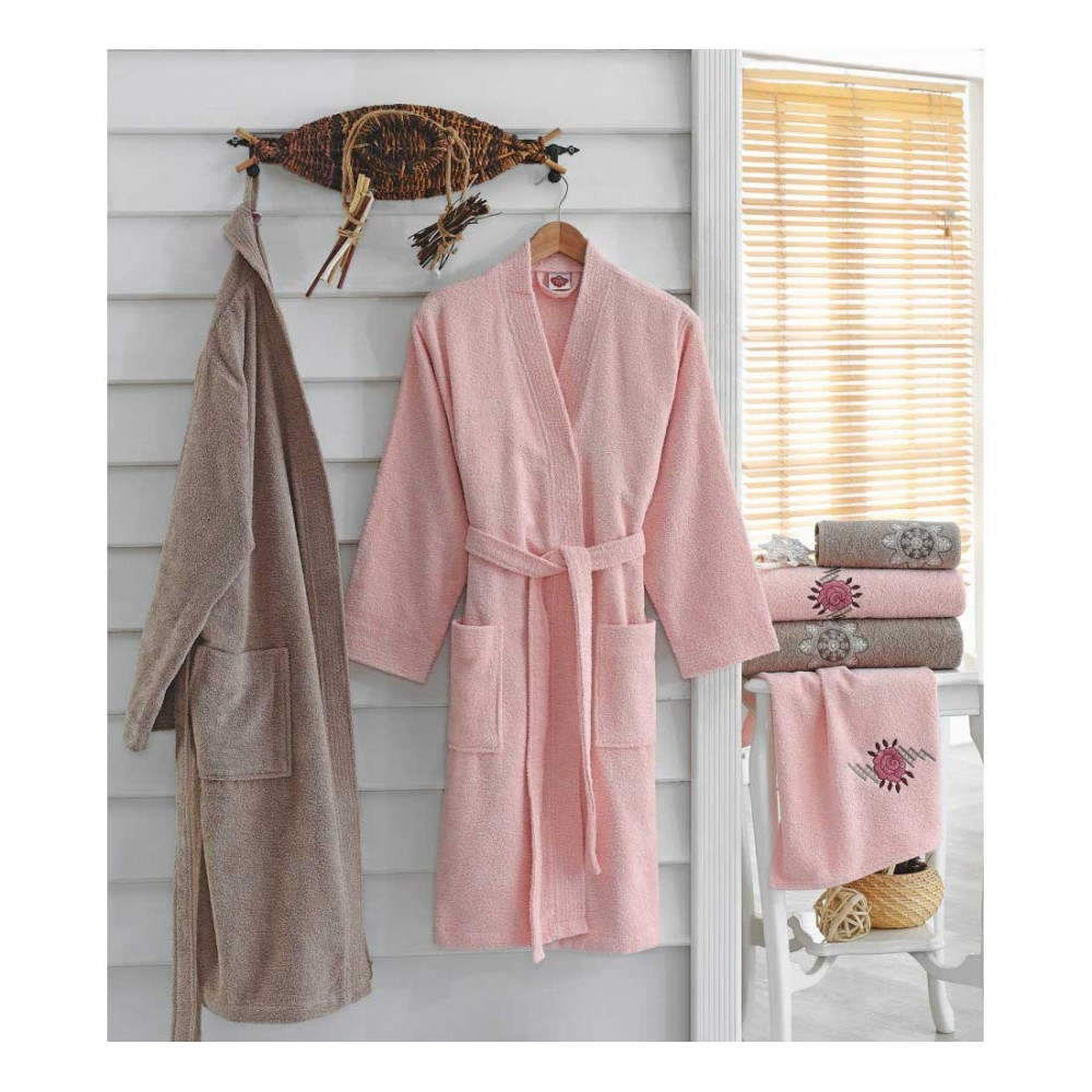 Embroidered Family Bathrobe Powder - Beige Color CT-5501006-PUD-BEJ