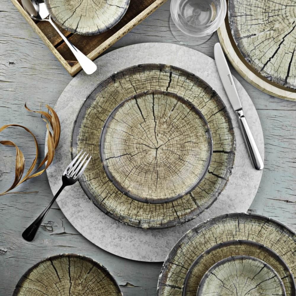 Porcelain Nano Cream Dining Set Wood's Texture Twenty-Four Pieces  BEIGE Color KTH-NNTS24Y2894010-BEJ