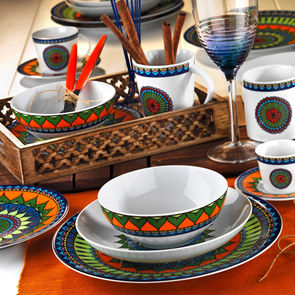 Porselen Bone Basak Dining Set Twenty-Four Pieces  COLORED Color KTH-ZG24Y24308982-RNK